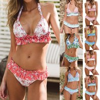 Woman Sexy Print Ruffle Swimwear Fashion Women Travel Beach ...