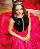 Дубай Арабский Длинные Пром платье с черным Sequin И Fushica атласной линии Sexy Вечерних платья Quinceanera партии 2020 дешевыми