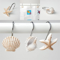 Ganci sospesi marrone bianco Gancio per tenda da bagno in resina Conchiglia di stelle marine Conchiglia Modellistica Articoli da bagno EEA434