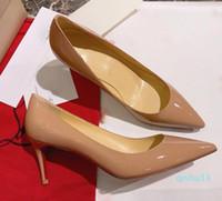 حار بيع -شمال الأحمر المرأة أسفل أحذية الكعوب العالية عارضة 2.5CM 8CM 10CM أسود جلد أشار تو مضخات أحذية حزب أزياء المرأة فستان الزفاف