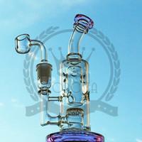 Dab Rigs de petróleo Bong Hookahs 8 polegadas com 14.5mm macho junta reciclador PERC quartzo banger carb tubulações de água