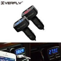 Cargador de coche 4 en 1 Adaptador universal de doble usb dc 5v 3.1a con voltaje / temperatura / corriente Medidor Probador Pantalla LED digital