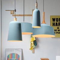 İskandinav Modern Minimalist Restoran Katı Ahşap Mavi Tek Kolye Lamba Yaratıcı Yemek Masası Renk Mat Demir LED Aydınlatma