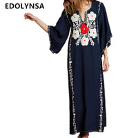 Boho Dark Blue Flower Embroidery French Side Split Summer Lo...