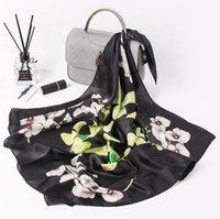 Mulheres Bandanas Multifunction Lenço de seda de cetim quadrado pequeno Xailes Handle Bag Ribbon Ladies Escritório Foulard Lenço orquídea Luxurious