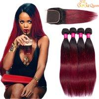 Два тонкота бордовых человеческих волос связки девственницы перуанские малазийские прямые клипы плетения с кружевным закрытием 1b 99J вино красные цветные расширения