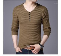 Thin Knit Shirt Winter Casual Solid Color Sweater Designer M...