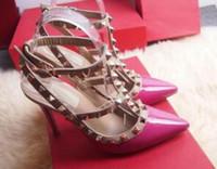 Marca donne calde di vendita-2019 pompa le scarpe da sposa Donna Tacchi alti sandalo nude cinturini alla caviglia di moda rivetta i pattini sexy degli alti talloni da sposa