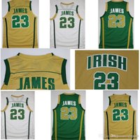 Hombres LeBron James St. Vincent Mary High School Jerseys irlandeses Camisetas de baloncesto LeBron James # 23 Jerseys cosidos Camisetas de oro verde