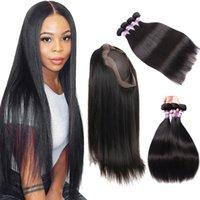 9a бразильские прямые человеческие волосы объемная волна пучки волос с 360 Кружевной фронтальной застежкой 3 пучка с 360 Кружевной застежкой наращивание человеческих волос