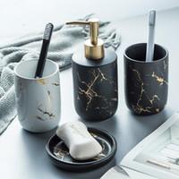 Imitação de cerâmica de mármore Banheiro Jogo de acessórios Ferramentas para lavar garrafas Colutório Cup sabão Escova de dentes artigos Titular domésticos