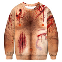 19mens designer hoodies Halloween Hot Selling 3D Blood Drops Digital Printed Round-neck Guard Clothes Leisure Large Autumn Clothes WGWY183