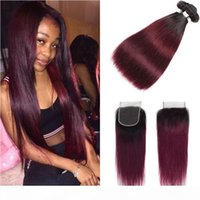 Brazilian Ombre Straight Human Hair 3 Bundles With Closure C...