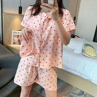 Damen Nachtwäsche 3 Stück Pyjamasanzüge für Frauen Revers Kurzarm Drucken Home Wear Lose Casual Top Shorts Augenbinde Set