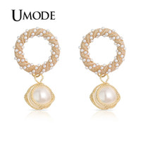 UMODE Korean Round Drop Earrings for Women Round Simulated P...