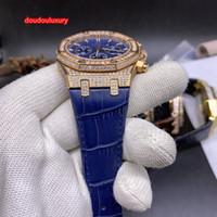 Üst Kalite Erkekler İyi Satış Saatler Mavi Mesh Mavi Deri Kayış Rose Gold Diamond İzle Kuvars Spor İş İzle Dial