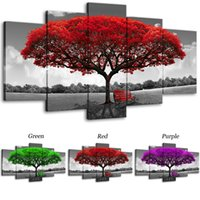 Unframed Canvas Prints Wall Art 5 Pieces Red Tree Painting L...