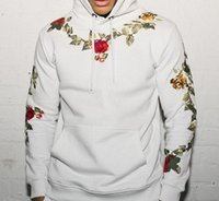 Rose Mens Designer Hoodies Fashion Floral Embroidery Solid C...