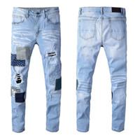 Мужская Неблагополучная Разрушенные джинсы Дыра Патчи Art Moto Тощие Джинсовый Омывается Light Blue Натяжных брюк Тонких моды Брюки # 602