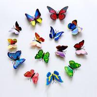 3D Schmetterling Wandaufkleber Simulierte Schmetterlinge 3D Schmetterling Doppelflügel Wanddekorkunst Aufkleber Home Decoration
