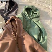 BGTEEVER Femmes Sweats à capuche recadrée solide simple T-Shirt Femme pleine manches overs épais Femme Survêtement Tops Femme d'hiver 2019