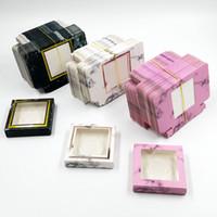NOVO 100pcs embalagem caixa de cílios papel por atacado ataca caixas de embalagens Marble Design for 10mm- 25mm vison pestanas caixa quadrada