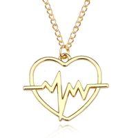 بسيط تخطيط القلب حب القلب قلادة سحر شيك الكهربائي نبضات المرأة قلادة مجوهرات الأزياء قطرة شحن