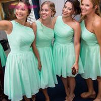 Şifon Bir Omuz Plaj Gelinlik Modelleri Lace Up 2019 Diz Boyu Düğün Konuk Elbise vestido de dresses curto