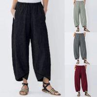 2019 Mujeres de la moda Pantalones de yoga Casual Bolsillo sólido Elástico de cintura alta Pantalones de lino sueltos Pantalones holgados transpirables