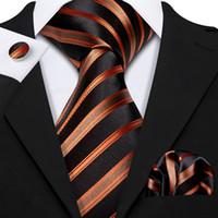 Hızlı Kargo Ipek Kravat Set Siyah Turuncu Çizgili erkek Toptan Jacquard Dokuma Kravat Cep Kare Kol Düğmeleri Düğün Business N-5250