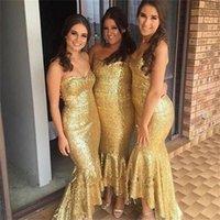 골드 장식 낮은 높은 신부 들러리 드레스 2019 새로운 애인 민소매 간단한 공식적인 웨딩 가운 파티 드레스