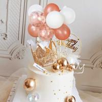 Diğer Festival Parti Malzemeleri 1 Takım Yaratıcı Kek Dekor 5 inç Konfeti Balon Topper Set Mini Kitleri Bebek Duş Düğün Doğum Günü