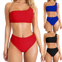 Separates Solid Color One Shoulder High Waist Bathing Suit Women Bikinis Swimming Suit Swimming Wear