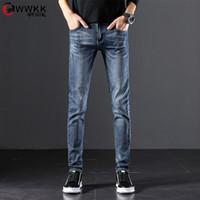 Jeans de l'homme Wwkk 2021 Top Quality Discount Hommes Slim Slim sur S Fashion Blue Coton Business Pantalons longue taille 37 38