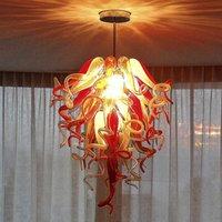 Antique Estilo Chandeliers Lâmpada Sala de estar Arte Decoração LED Bulbs Chihuly Murano Glass Chandelier Pingente Light Home Hotel