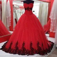 Ballkleid Schwarze und rote gotische Hochzeit Kleid-Schatz SpitzeAppliques 1960 Bunte Brautkleider mit Farbe Non-weiße Spitze-up 104