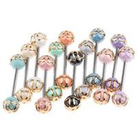 20st Colorful Ball Tongue Nipple Bar Ring Barbell Piercing 16g Kirurgisk Stål Öron Bröstkropp Body Smycken Partihandel