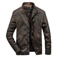 Leather Jacket Padding Motorcycles Vintage Washed PU Jackets...