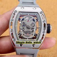 43 mm RM052 Relojes Esqueleto Silver Skull Dial Dial Miyota Automático Mens Reloj de acero 316L Caja de acero 052 Cuerca de goma gris SPORT HWRM HELLO_WATCH 6 COLOR