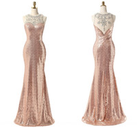 Moda Rose ouro lantejoulas Prom Vestidos Homecoming Sheer Neck oco Voltar frisada Bainha Real Fotos Formal Pageant vestem vestidos vestido baratos