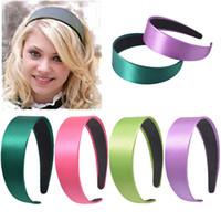 2020 الساخن بيع أزياء الفتيات على نطاق واسع رباطات الصلبة الحافة Hairbands الحرير المغطاة اكسسوارات الشعر للمرأة