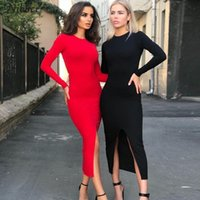 NIBBER Herbst heißen Club-Party Nacht einfach backless Midi-Kleid Women2019Elegant Stretch Slim schwarz Medium, figurbetontes Kleid mujer rot