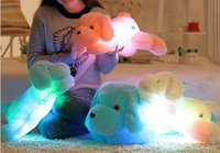 "LED Plush Dog Stuffed Animal Blue Pink White Light Up Kids Toy 20"" Night Light Gift NEW"
