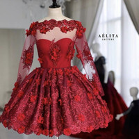 Red Short Prom Dresses Bateau Long Sleeve Lace 3D Floral App...