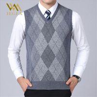 Herren Pullover Weste Casual Plaid Ärmellose Männliche Pullover V-ausschnitt Strick Cashmere Pullover für Winter Sueter Hombre Mäntel