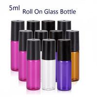 500 قطع المحمولة 5 ملليلتر (1/6 أوقية) لفة مصغرة على زجاجة العطر زجاجات الزجاج العطور الضروري النفط الصلب المعادن الأسطوانة الكرة
