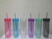 Тощие стаканы 16 унций прозрачные акриловые стаканы с крышками и соломой многоразовая чашка с соломой разных цветов