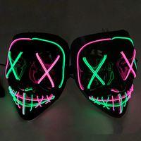 7 stilleri Cadılar Bayramı LED Parlayan Maske Parti Cosplay Maskeler Kulübü Aydınlatma Bar Korkunç Maskeler LED Oyuncak ZZA1201 50pcs