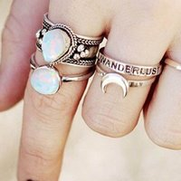 eManco Wholesale 925 Silver Bohemian Opal Rings Romantic Tre...
