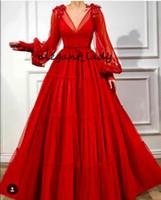 Abiti da cerimonia con balze rosse a maniche lunghe sfrangiate con scollo a V 2019 Abito da sera arabo da principessa per occasioni occasionali